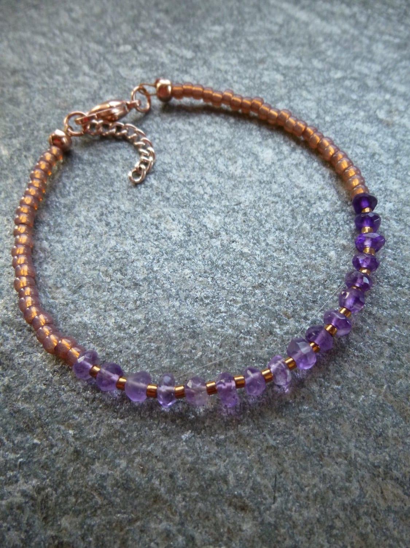 dainty amethyst rose gold bracelet purple ombre stacking braceletlayering jewelry friendship braceletpurple gemstone February birthstone