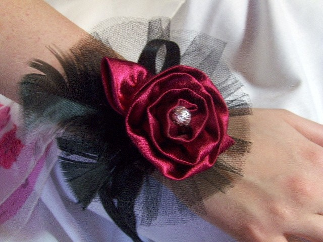 Wrist Corsage Cuff Red and Black Satin Prom-Wedding-Party-Goth or your choice of colors