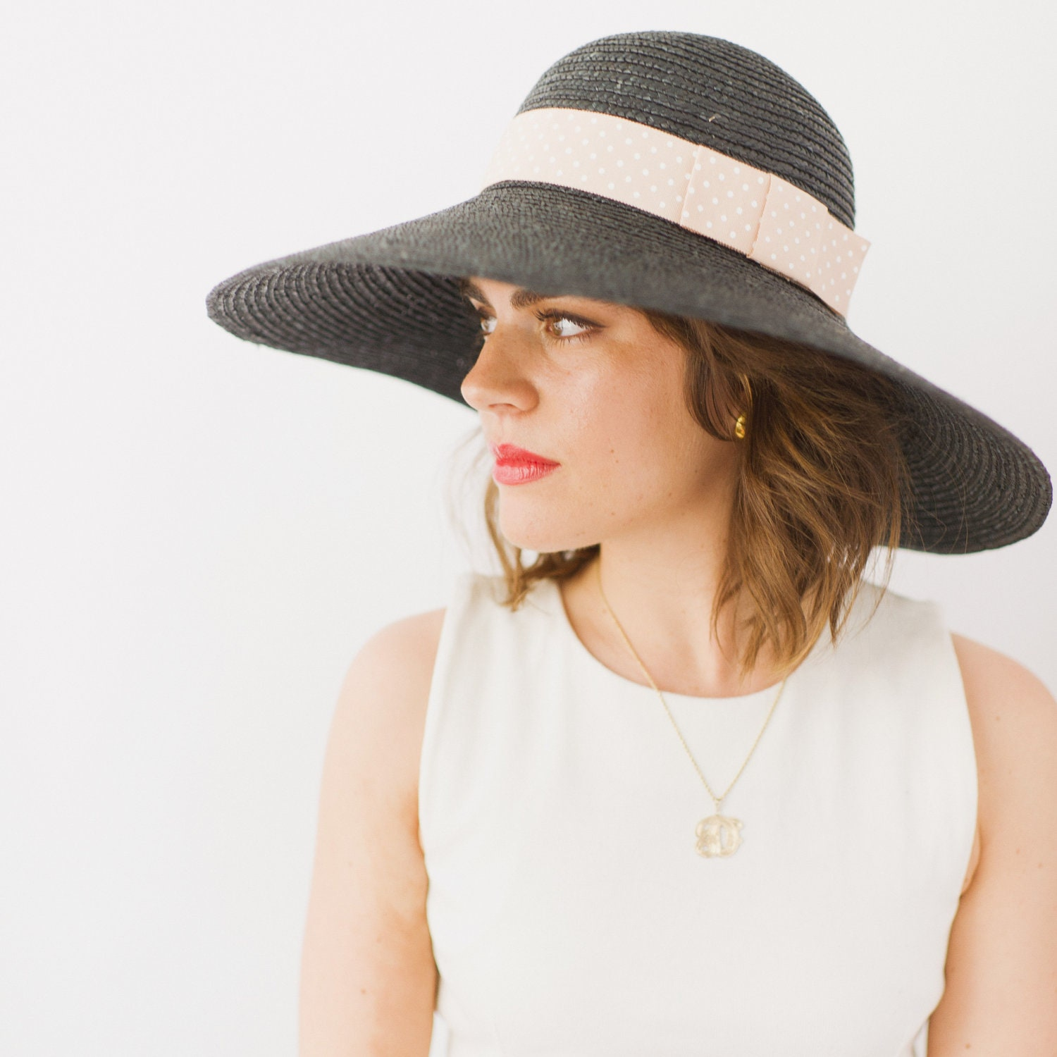 Black Straw Hat - SAMPLE SALE STYLE 16 - prestonandolivia