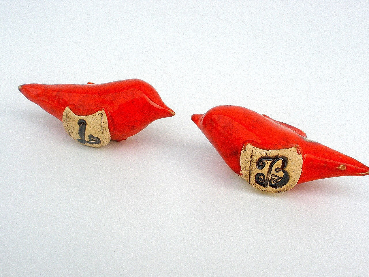 Custom ceramic love birds with your initials