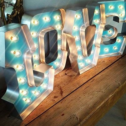 Cool love with silver edging hollywood lights by for Hollywood light up letters