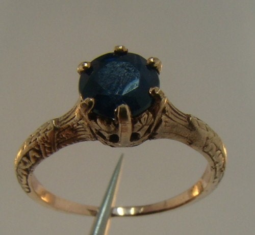antique sapphire ring 10k gold ring by fairytaletreasures