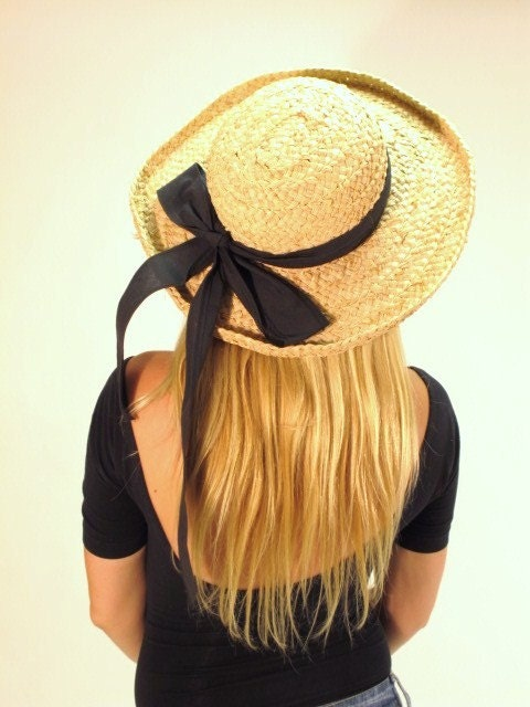 Vintage Straw Hat with Large Black Bow