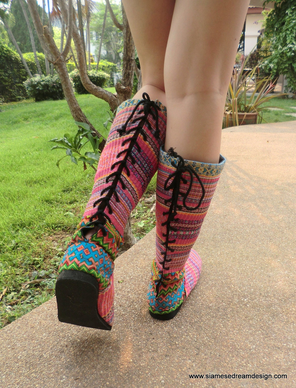 Colorful Hmong Embroidered Lace up Womens Vegan Moccasin Boots