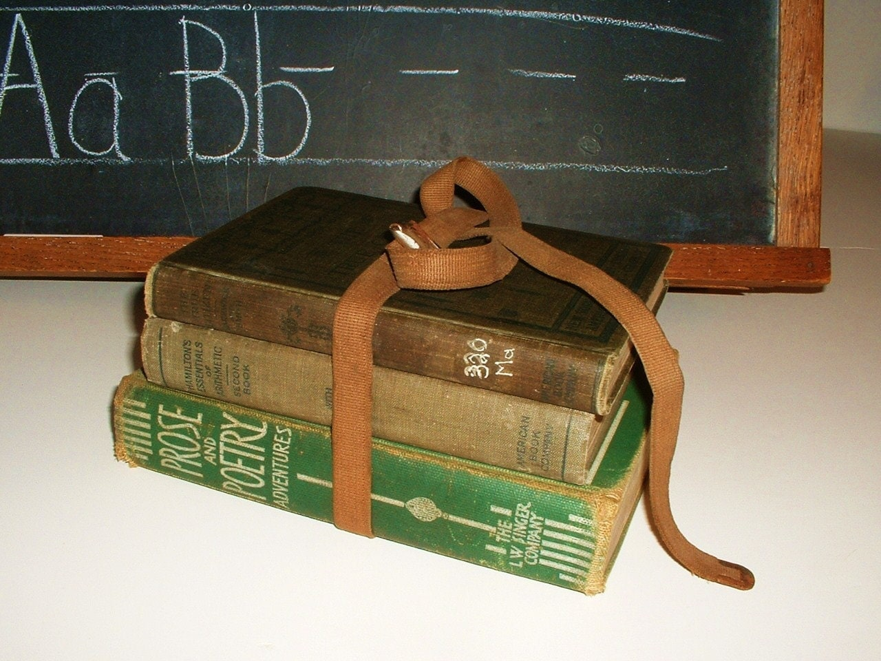 Strapped Antique School Books Reading Writing and Arithmetic