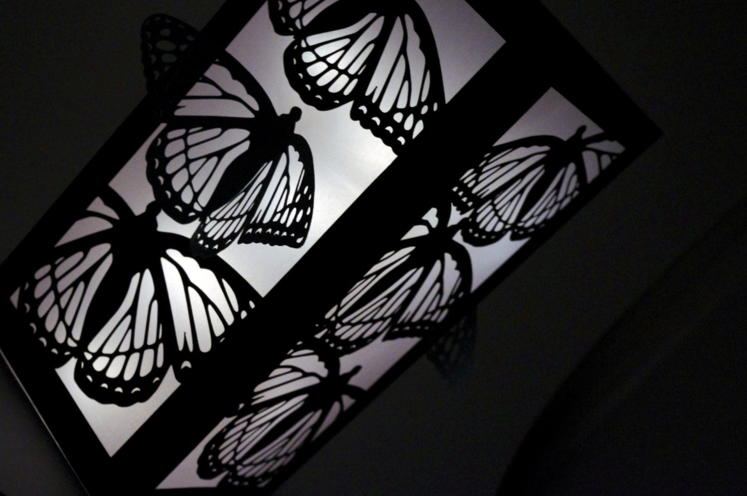 "12"" Cut Paper Luminaries - Black White Butterfly Wedding Centerpiece Decorations - Paper Lantern - MinksPaperie"