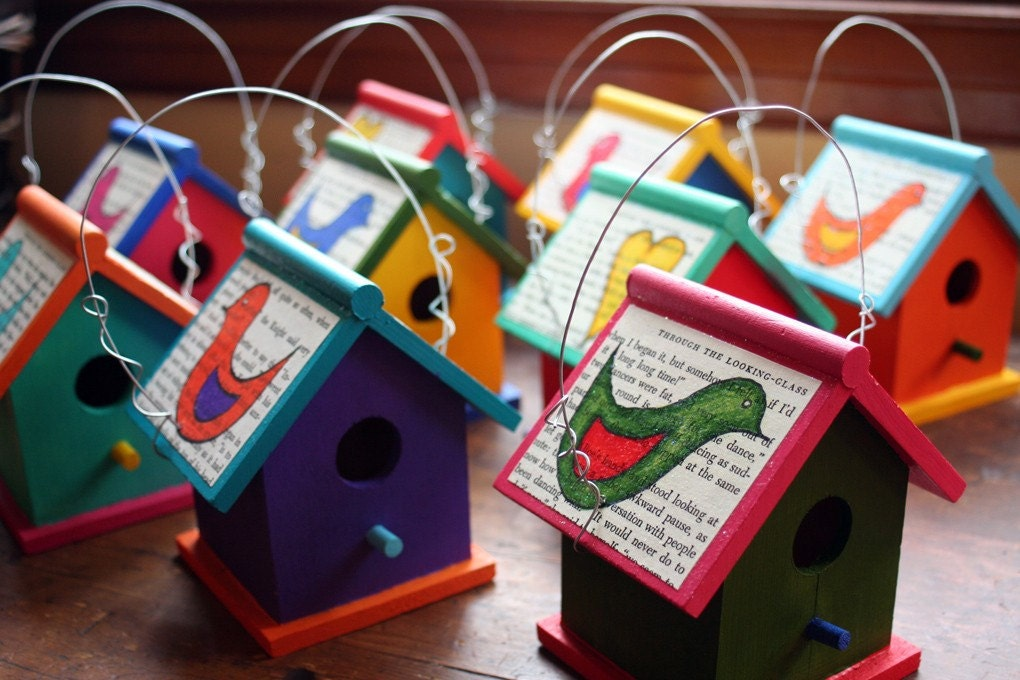 Birdhouse with Upcycled Book Pages and Original Illustrations (your choice)