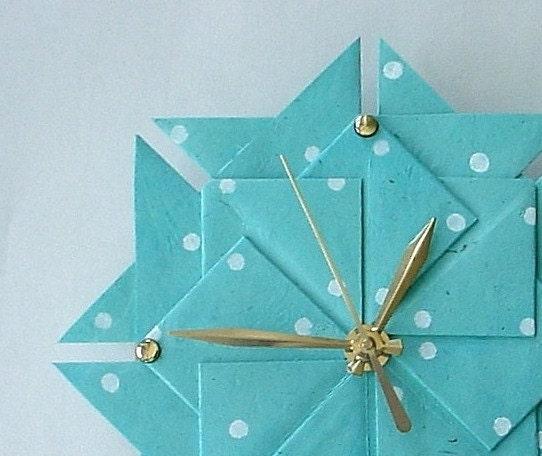 Aqua Polka Dot Origami Clock-Large