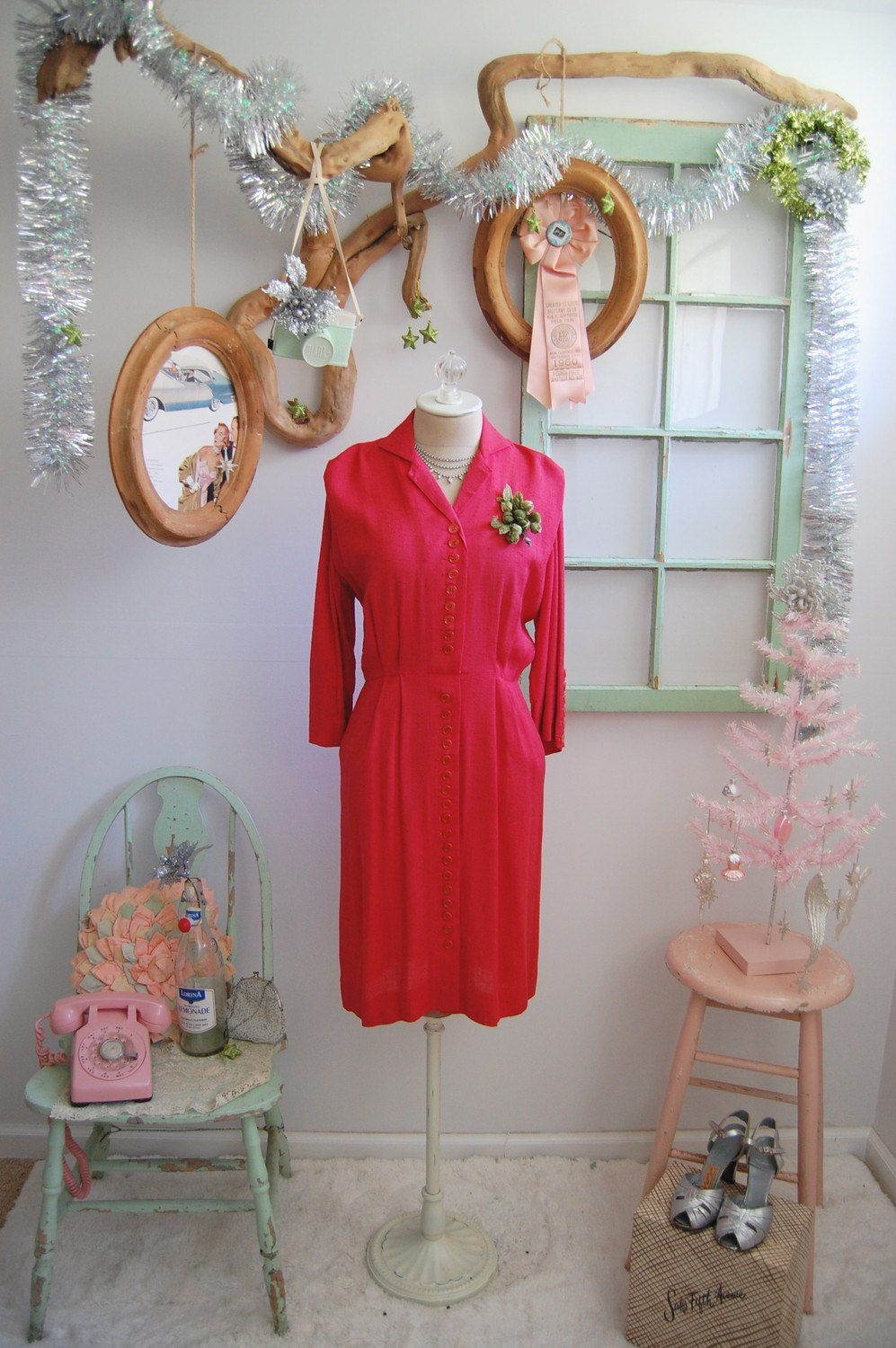 The Ingrid- Vintage 1940s Cliff Macklin Red Button Front Cocktail Party Dress Size 4 6 Medium M