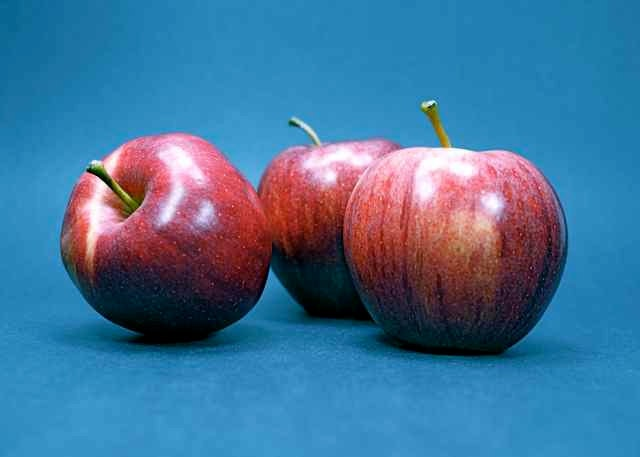 Food Photo Shiny Red Apples with Blue by EclecticForest on Etsy