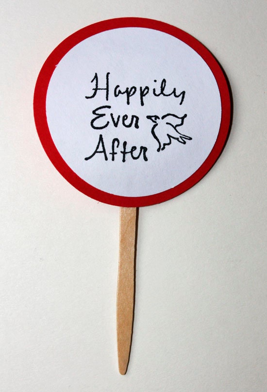 Happily Ever After Cupcake Toppers, Set of 12, Wedding, Valentine's Day, Cupcake Toppers, Black, White, Red, Wedding Sayings, Bridal Shower - SammysCraftShop