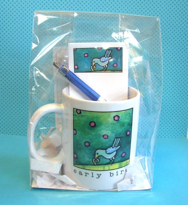 Early Bird Coffee Mug and Memos Gift Set