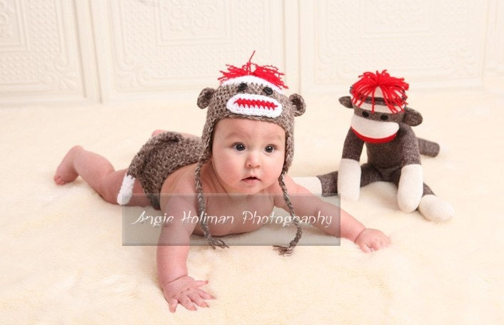Custom SOCK MONKEY Hat  PLUS Diaper Cover           Photo Package