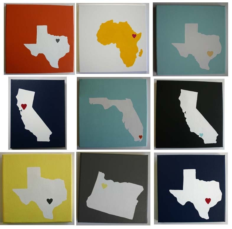 CHOOSE your STATE or COUNTRY - Affordable Original Painting, Wall Art, Home Decor - Made to Order State Love (8 x 8 Canvas)