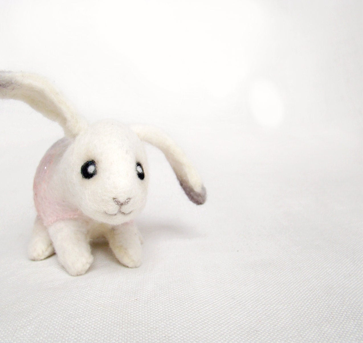 Milena - Little Easter Bunny. Art Toy. Handmade Felted Hare Stuffed, mteam. white pink grey gray pastel neutral. MADE TO ORDER. - TwoSadDonkeys