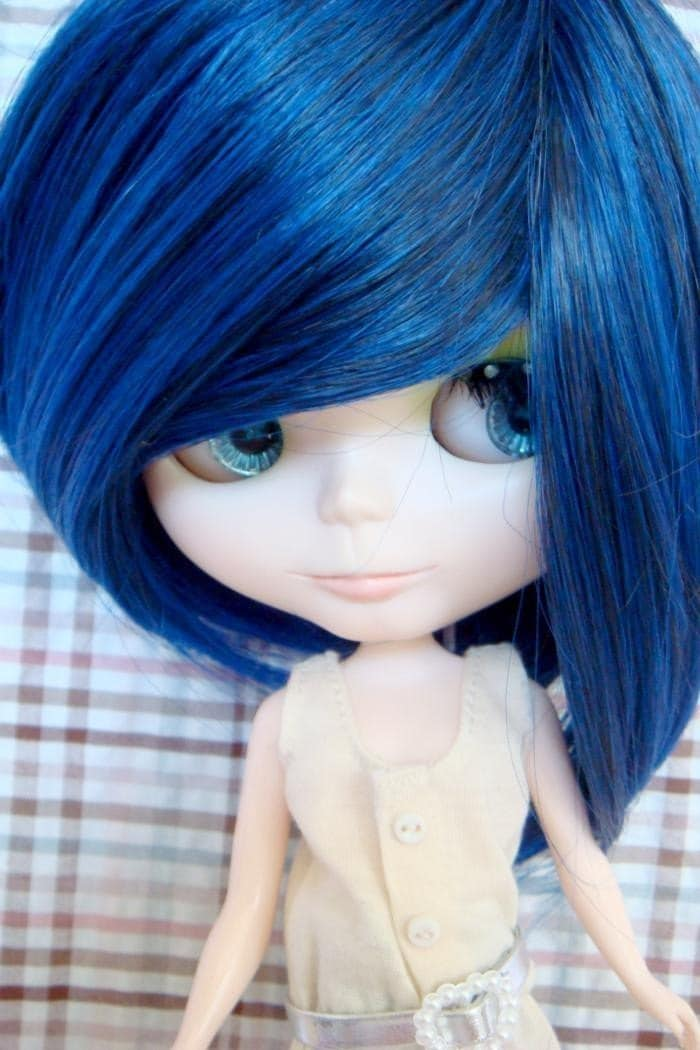 Funky Blue Wig for Blythe Doll