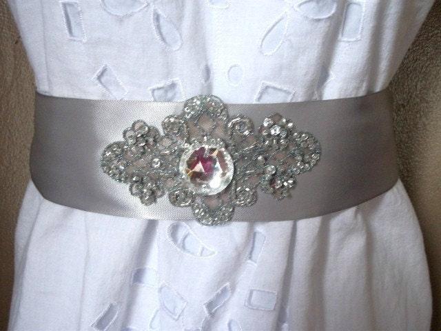 Dazzling Silver Crystal Bridal Sash
