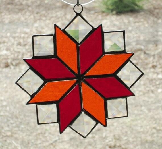 Stained Glass Suncatcher, Quilt Pattern - 8 Point Star in Red & Orange ...