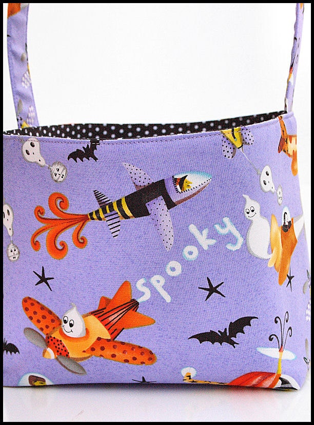 Custom Boutique Halloween Trick or Treat Basket retro look planes