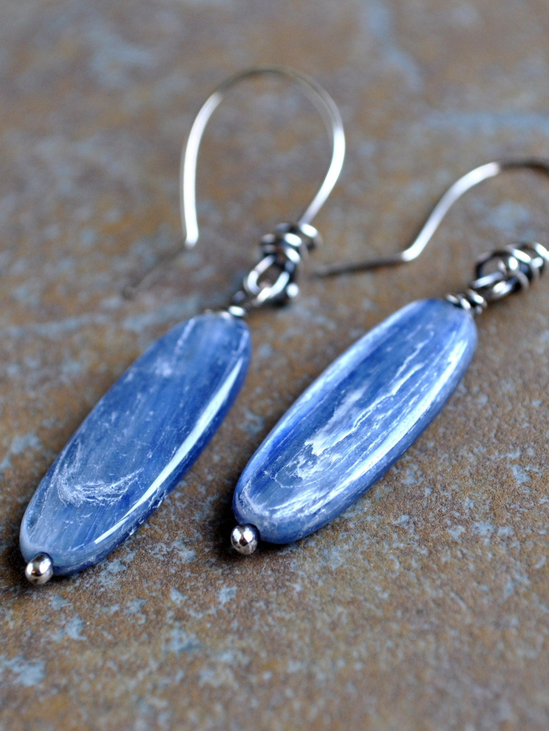 Striking Blue Kyanite Slab Dangle Earrings by BeiMondi on Etsy