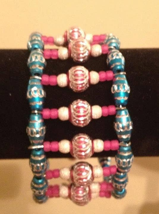Beaded and wirewrapped bracelet