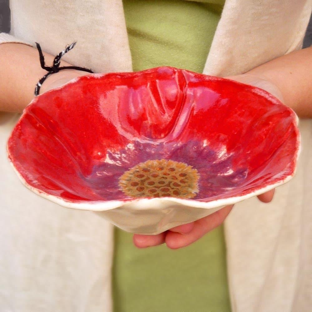 Red Poppy Bowl 12 oz size