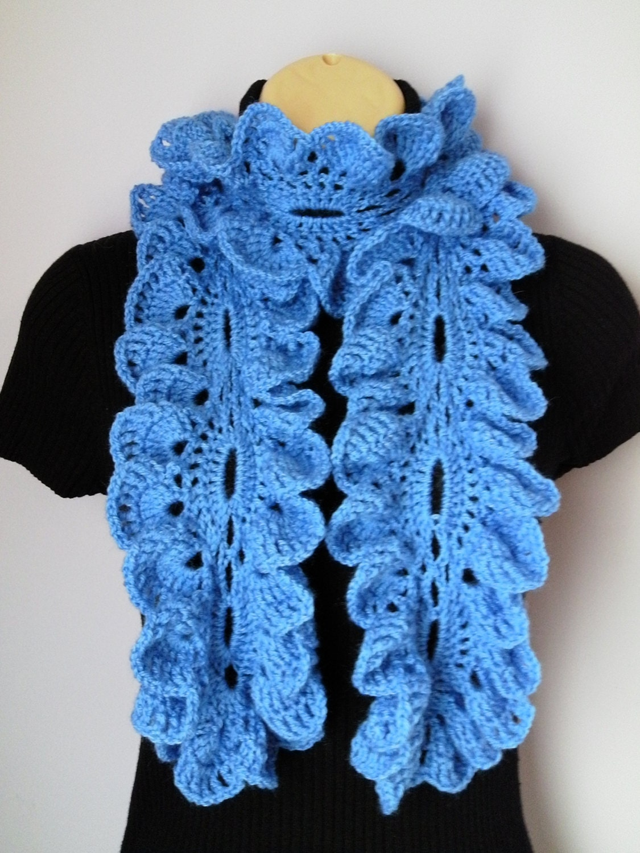 Crochet Scarf, Neckwarmer, Ruffle Scarf women blue, sjaal, bufanda ...