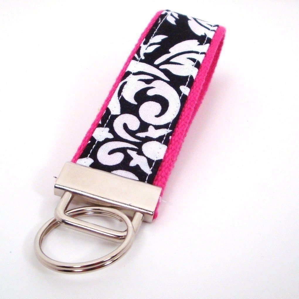 Key  Fob in Black Dandy Damask