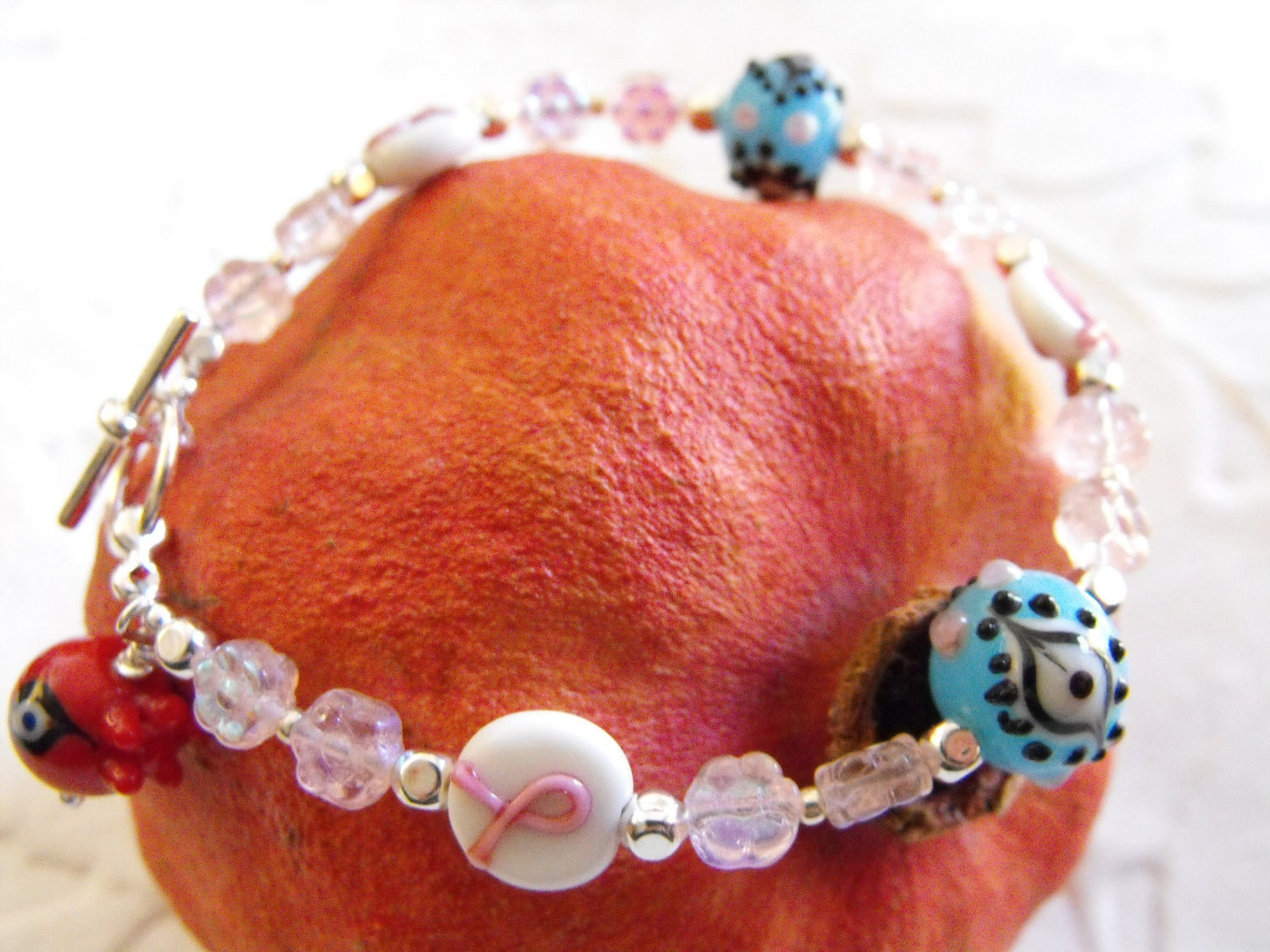 Pink Ribbon Bracelet with Blue Eye Beads