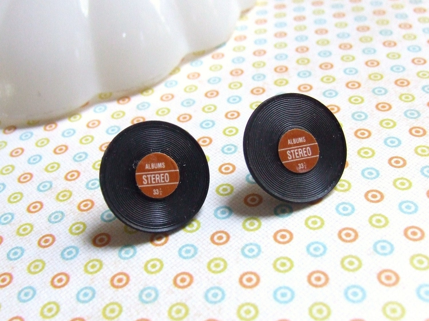 You Spin Me Round - Red Black - Miniature Vintage Record Album - Fun Plastic - Hypoallergenic Post Stud Earrings