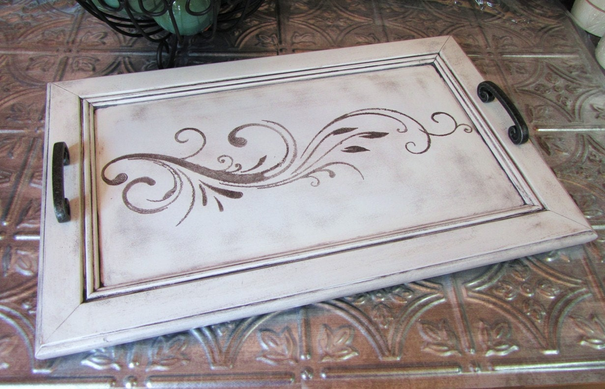 Chic Serving Tray From Upcycled Cabinet Door Black And White Lily A Treasury Favorite Fotofuze