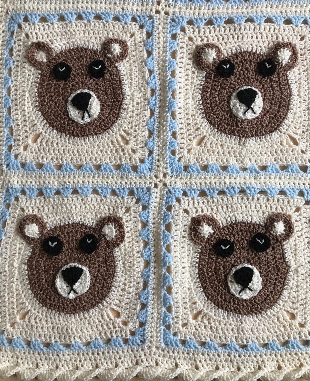 Handmade crochet cream and blue teddy bear blanket