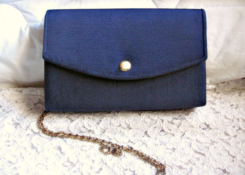 Navy Blue Envelope Clutch w/ Pearl Snap