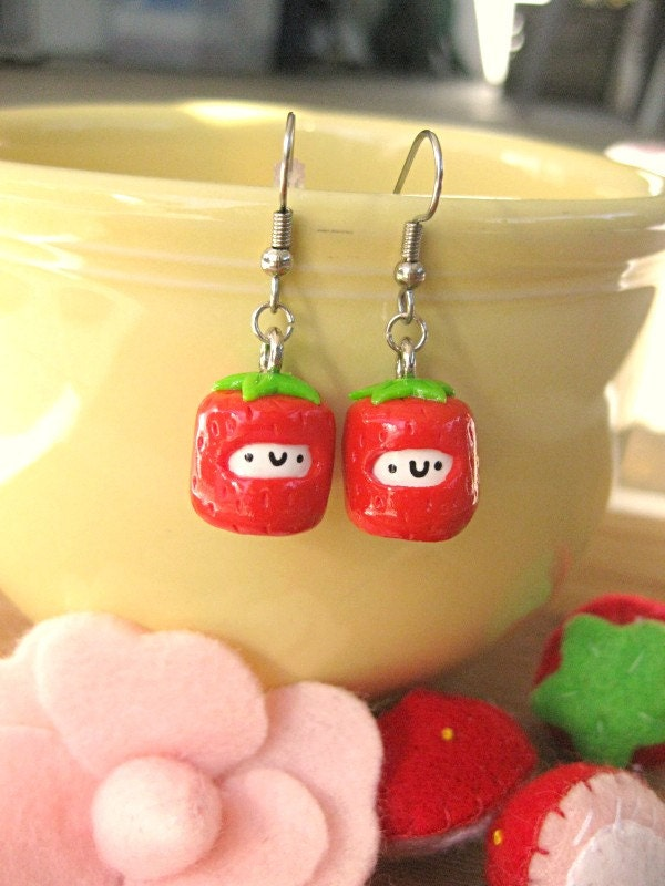 Mini Strawberry Marshmallow Earrings