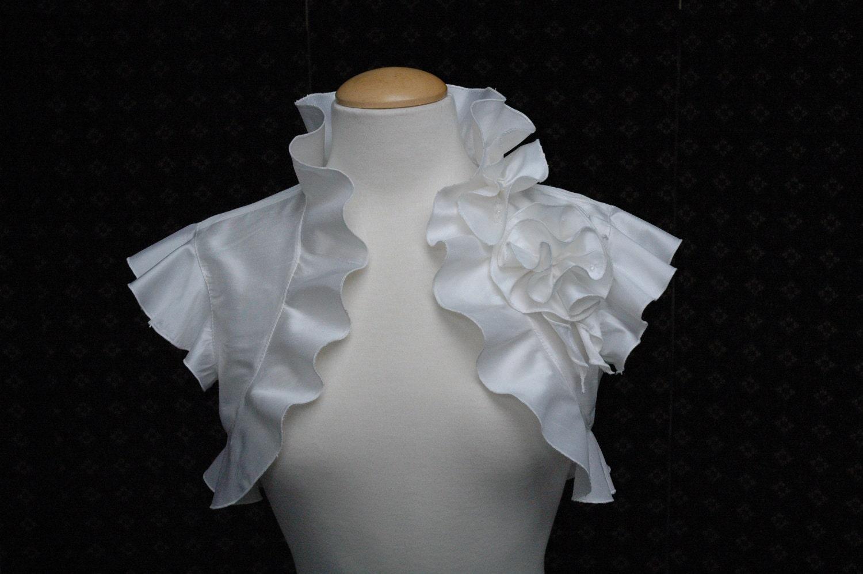 Bolero Jacket Shrug Wedding Silk white black ivory