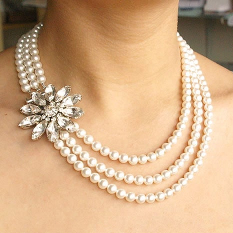 Rhinestone Bridal Necklace, Swarovski Pearl Wedding Necklace, Vintage Style Wedding Jewelry, Statement Bridal Necklace, FOREVER in BLOOM