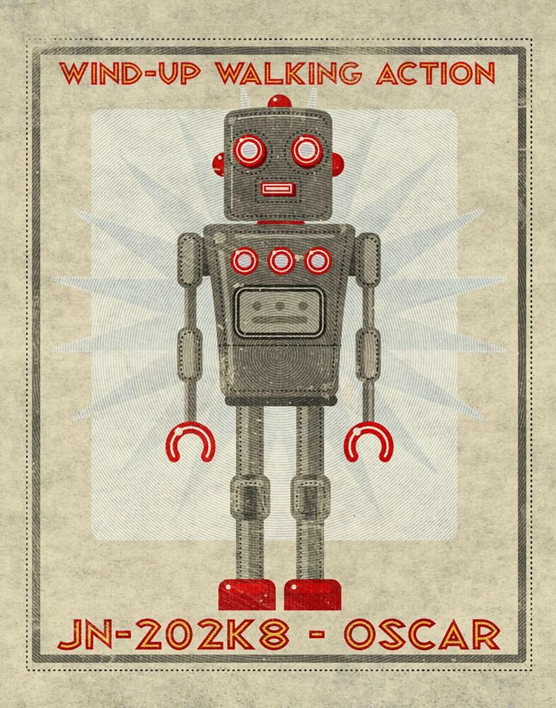 Oscar Box Art Robot Print 11 in x 14 in