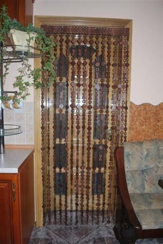 new wooden beaded door curtain handmade by artgateshop on etsy. Black Bedroom Furniture Sets. Home Design Ideas