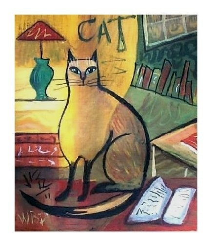 SIAMESE CAT Literary Kitty SIGNED ART PRINT Folk Art ABSTRACT