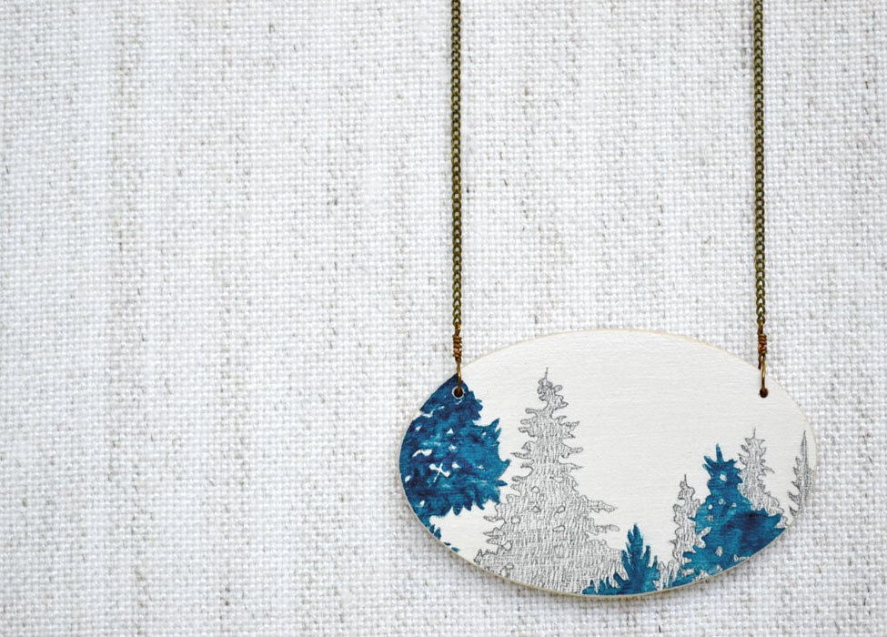 Treeline Vignette Necklace - hand painted blue and white wooden pendant on brass chain