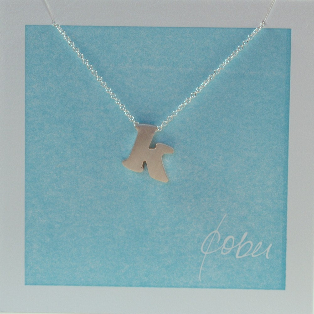 sterling silver block letter initial necklace - k