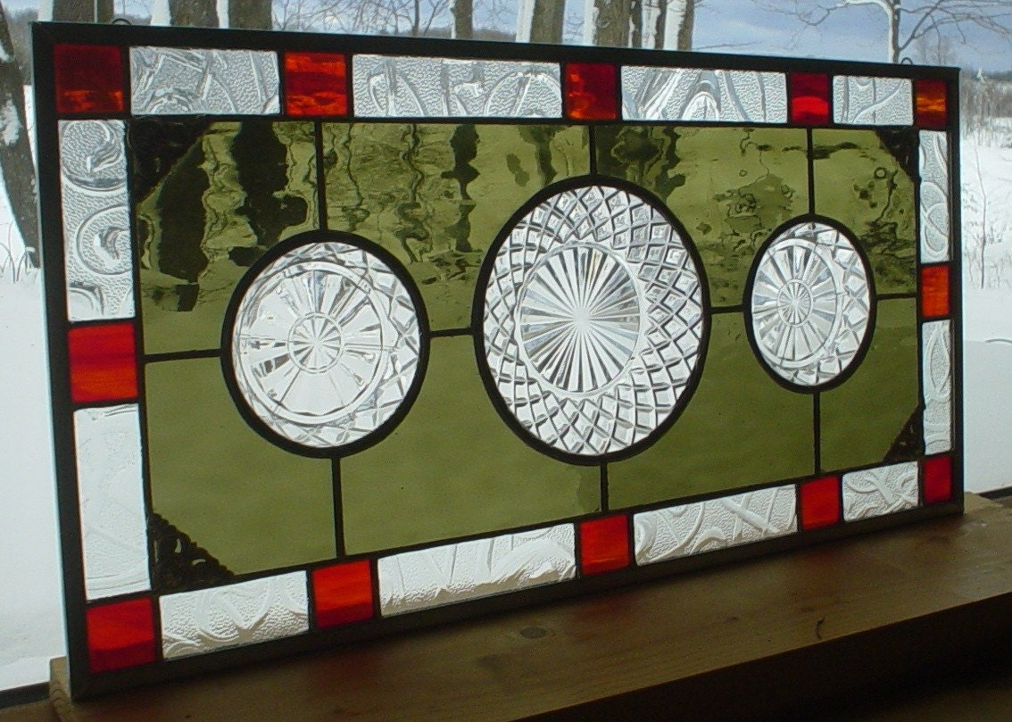 Olive Rust stained glass panel