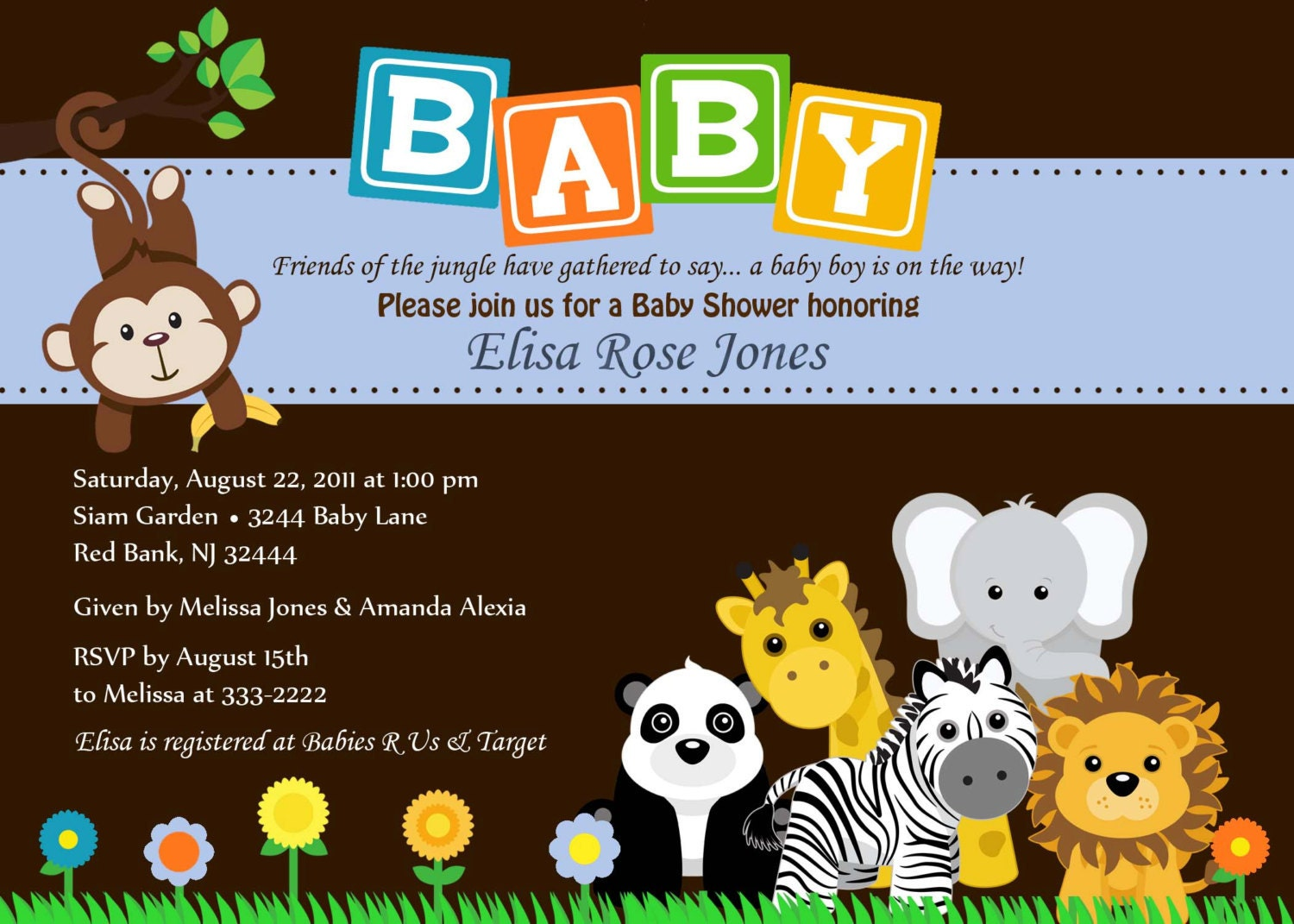 Baby Shower Invitation Animal Safari Jungle Baby por theprintfairy