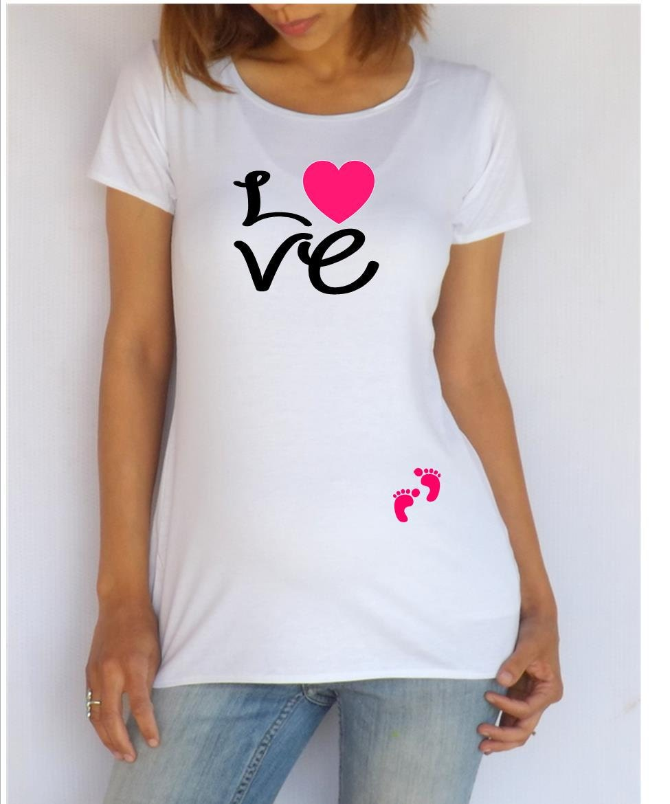 Funnycute maternity shirt love with footprints by for Funny cute maternity shirts