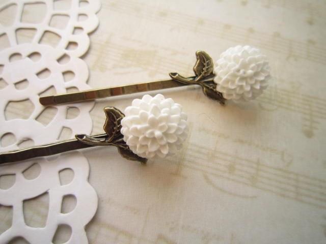 Dreamy - Snow White Chyrsanthemum Bobby Pin Set