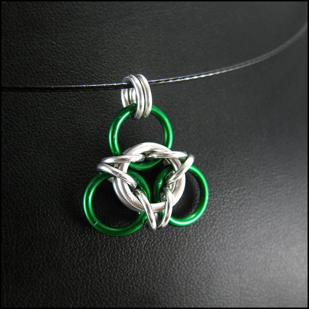 Green and Silver Aura Chainmaille Pendant Necklace by Janabolic from etsy.com