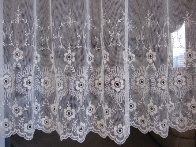vintage lace curtain lace embroidered sheer by thecottageway