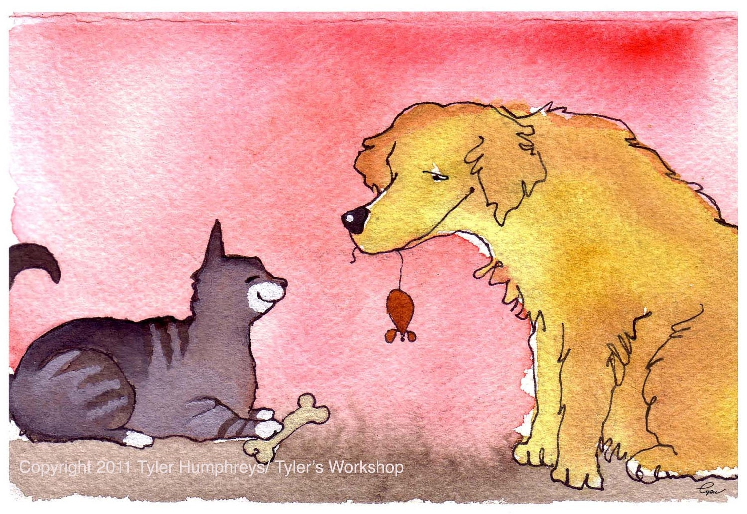 Valentine Card - Funny Cat & Dog Card Love Friendship Card - Cat Art - Dog Art - Pets Watercolor Painting - Cat and Dog Greeting Card - tylersworkshop
