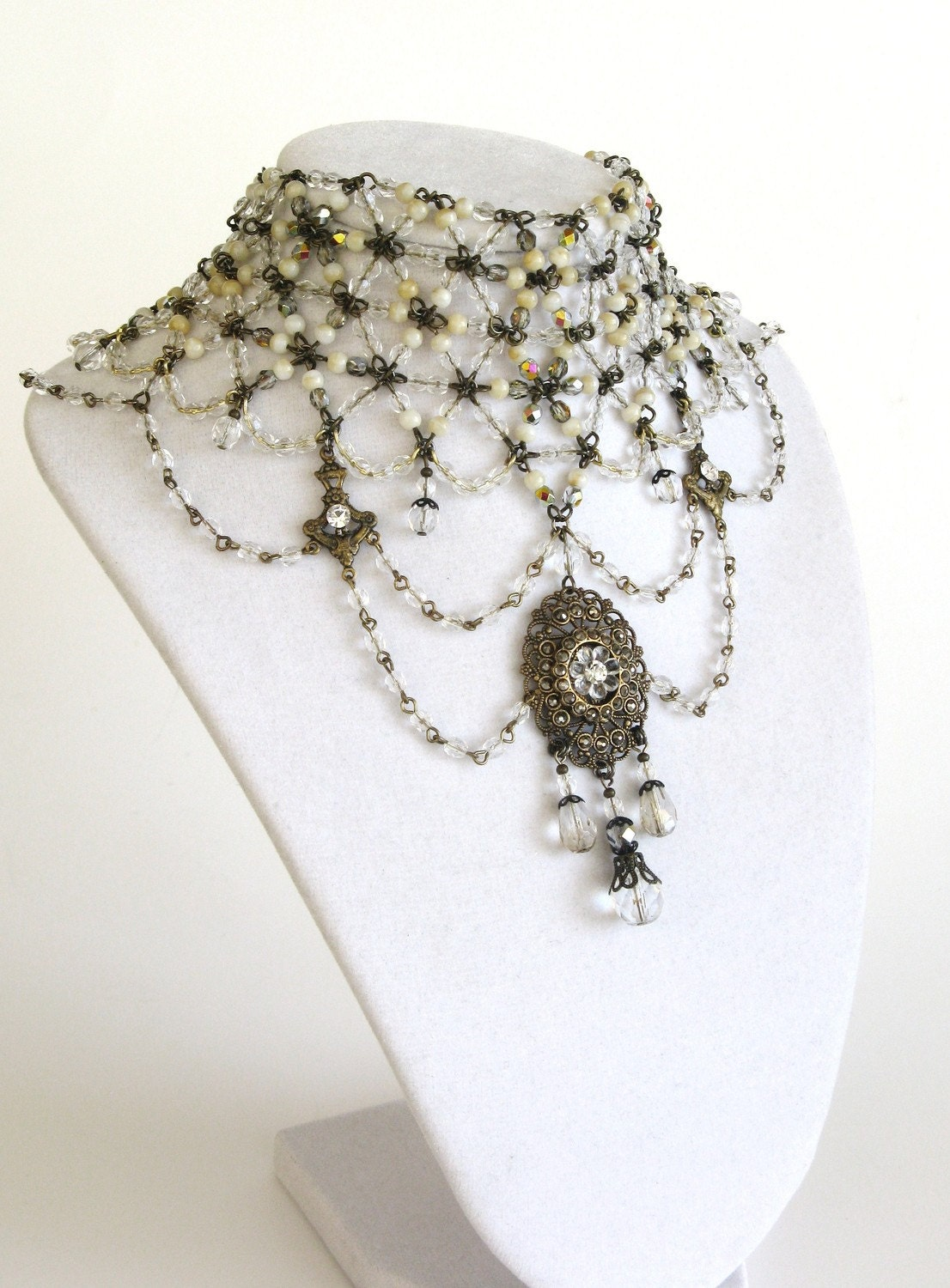 Edwardian Bride EXLUSIVE Signature couture bib necklace COATES in vintage brass and crystal signed and OOAK