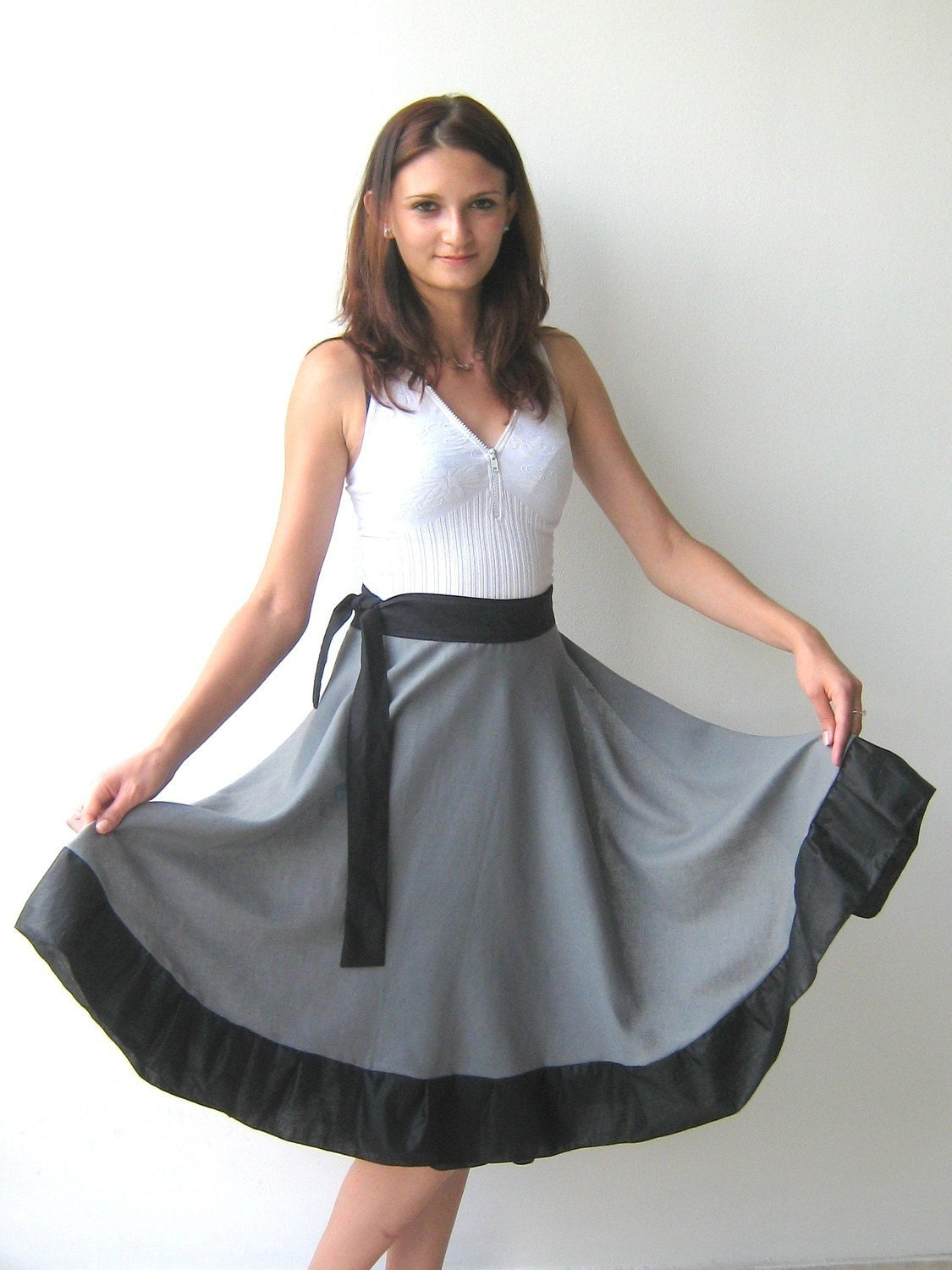 Sun-flared  wrap skirt